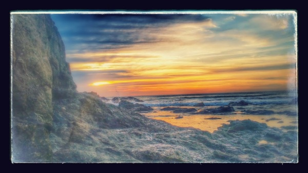 playa grande sunset stylized photo